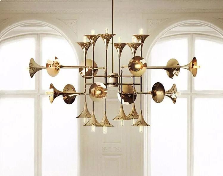 Progress Lighting Riverside Collection 4 Light Heirloom: Decorative Trumpet Pendant Light Botti Triump Golden Big