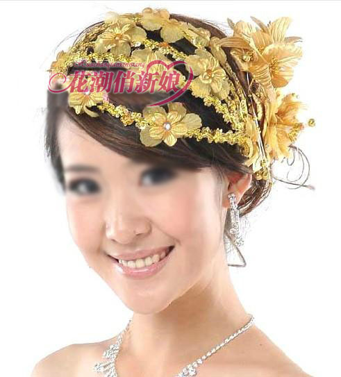 Gold red bridal hairpin accessories hair accessory silk flower hair accessory hair accessory dance