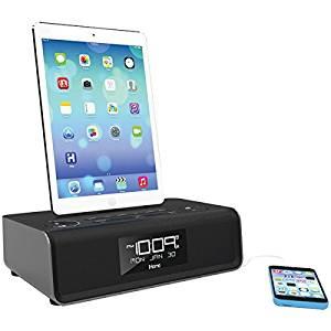 IHOME iDL43B iPad(R)/iPhone(R)/iPod(R) Dual-Charging FM Clock Radio with Lightning(R) Dock