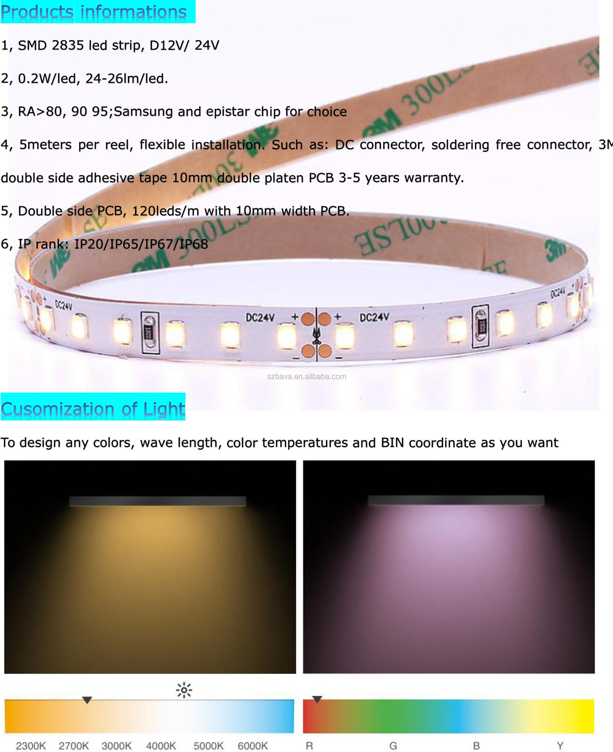 Wholesale 2700k 6000K 12v 24v 120 led per meter flexible smd 2835 led strip
