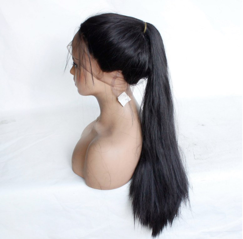 8inch-24inch cheap Heat Resistant <strong>Synthetic</strong> natural look black color <strong>full</strong> <strong>lace</strong> <strong>Wigs</strong> with baby hair can be tied ponytail