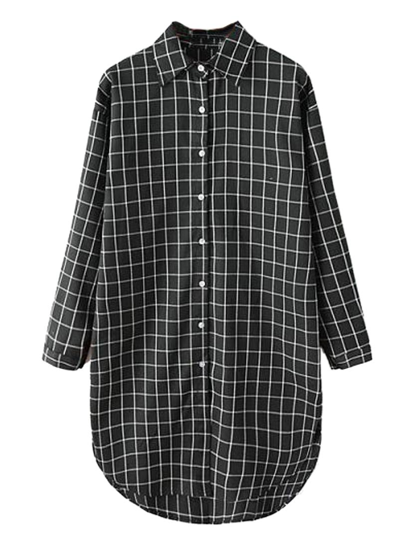 Persun Black and White Plaid Long Sleeve Longline Shirt ...