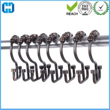China Rustproof Metal Double Glide Shower Curtain Rings Hooks