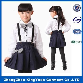 a3555e4806 Custom uniforme escolar primaria diseño para niñas con camisas de vestido  ...