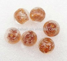 Handmade Lampwork Loose Beads, with Gold Sand, Round, Brown, 12mm, hole: 2mm(LAMP-ZZZ153-3)