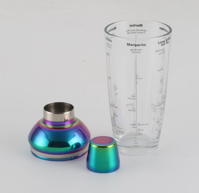 Professional custom 700ml stainless steel rainbow cocktail glass shaker