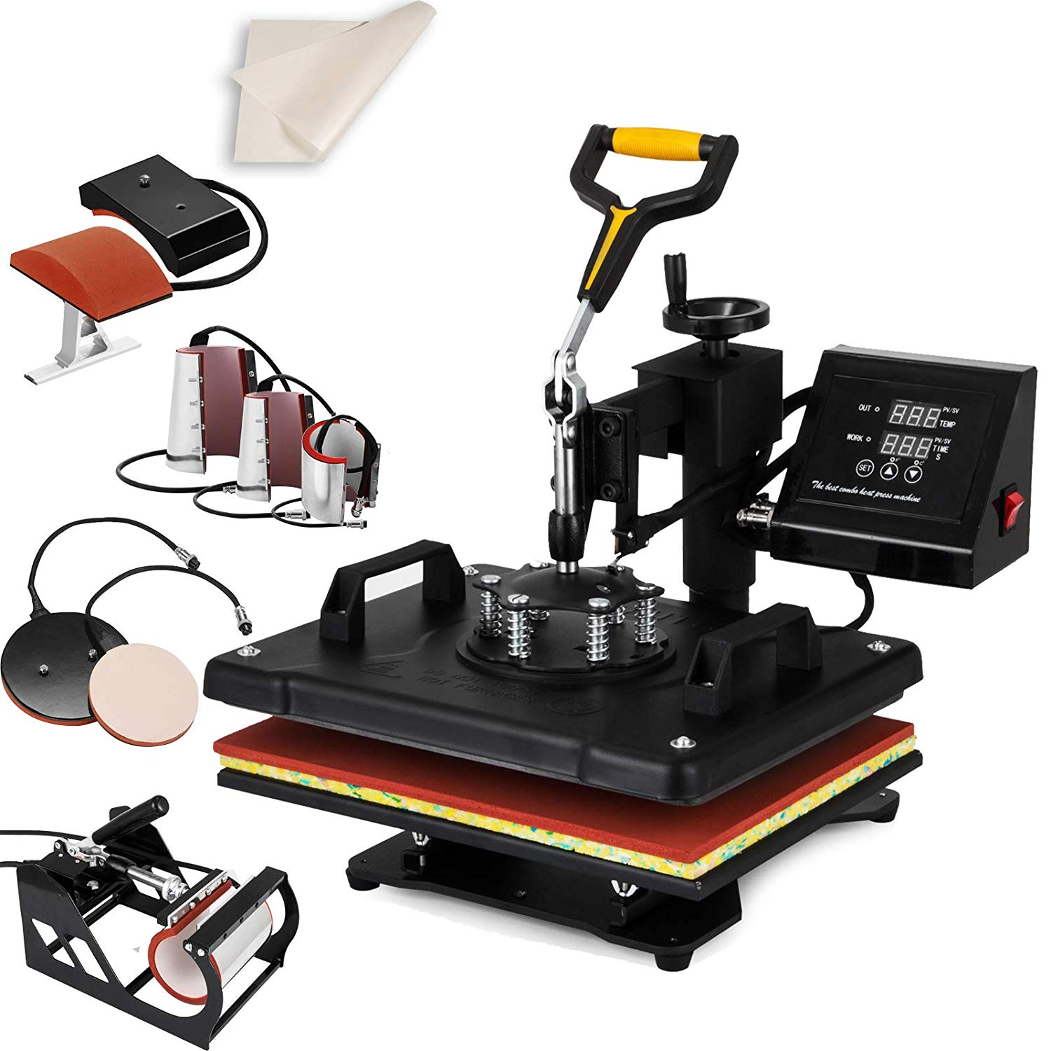 "67c564df Get Quotations · SHZOND Heat Press 12""x 15"" 8 in 1 Combo Heat Transfer  Machine Multifunctional"