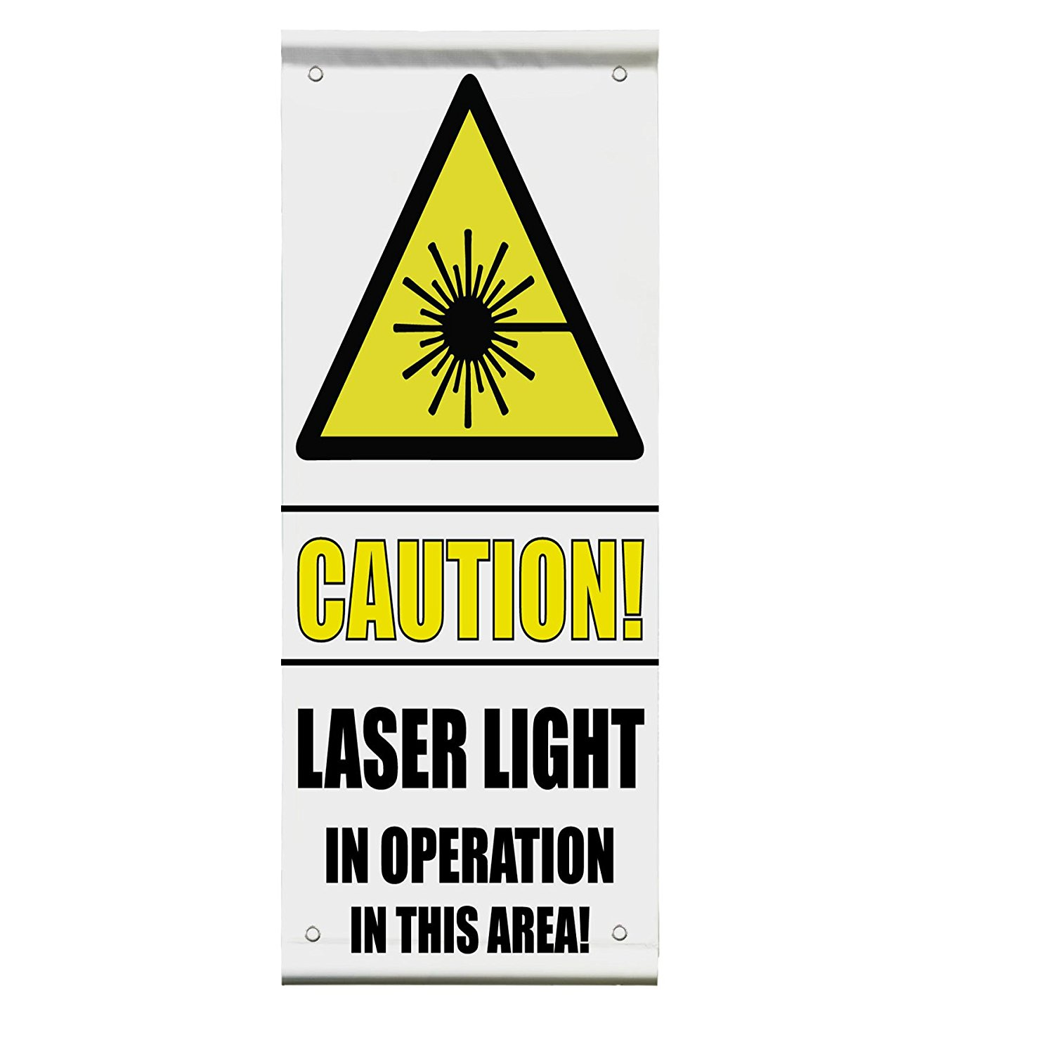 Caution! Laser Light In Operation Safety Double Sided Vertical Pole Banner Sign 36 in x 72 in w/ Wall Bracket