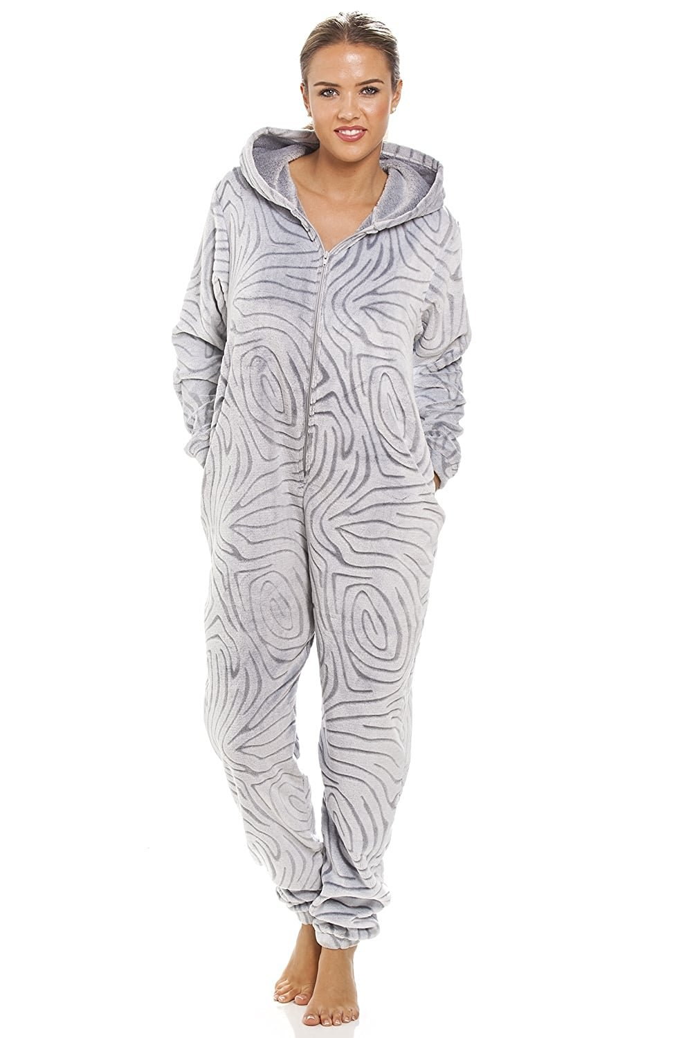 a852db9faaf Get Quotations · Camille Womens Ladies Gray Supersoft Fleece Zebra Print  Hooded Onesie