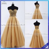 Real Photo Sweetheart Sleeveless Sequins Tulle Long Prom Wholesale