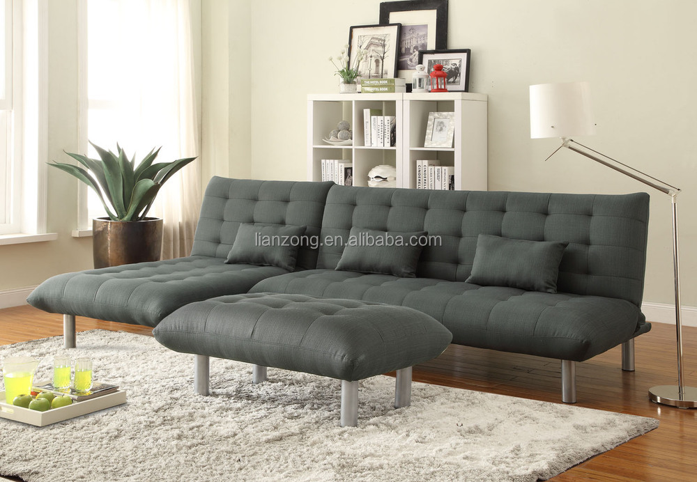Gray Button soft fabric chaise lounge furniture sofa bed