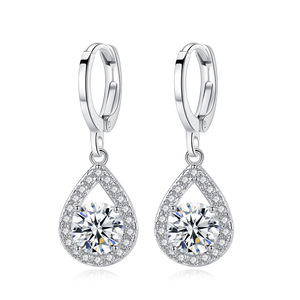 Jewelry Fashion designs new model angel tear drop fancy personalized zircon copper alloy crystal cute clip earrings for women