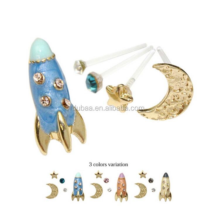 Star Moon Planet Rocket Space Shuttle Earrings - Nasa Space ...