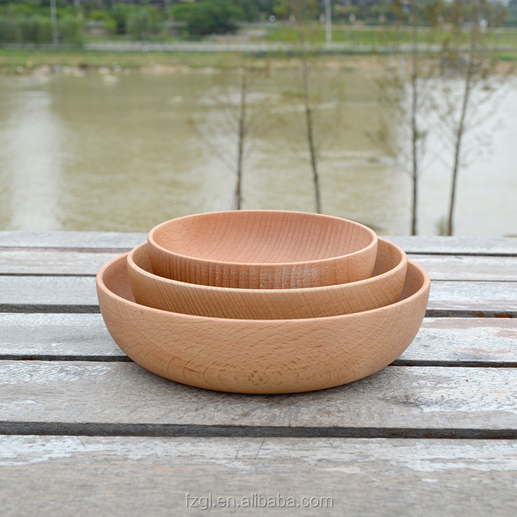 Shallow mouth pure color salad bowl whole wood beech integrated rice bowl and dish