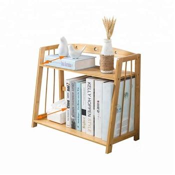 Wholesale Bamboo Desktop Bookshelf 2 Layer Student Office Mini File Shelves