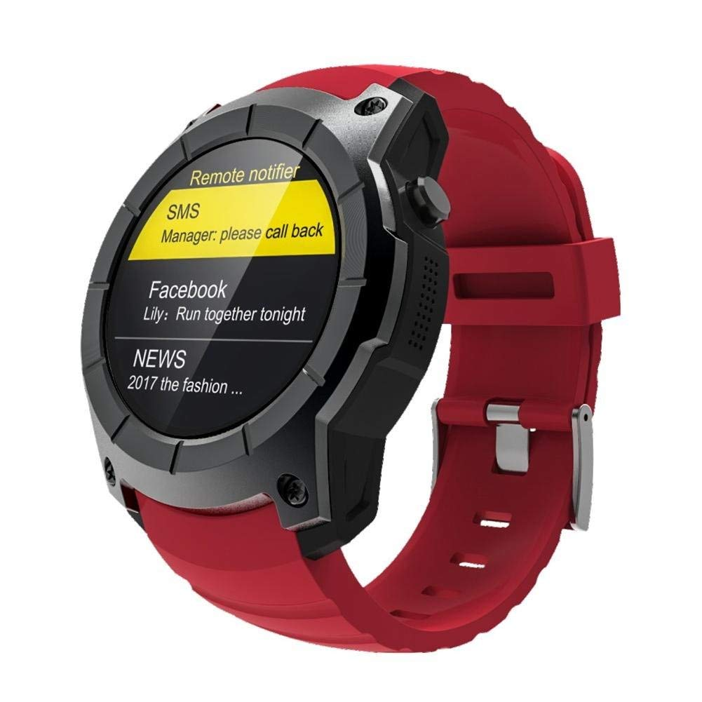 Window-pick S958 Smart Watch 2G SIM Card Compatible with Android IOS Phones,Sports Watch Waterproof Heart Rate Monitor GPS+BeiDou+AGPS MTK2503(128MB+32MB) Red