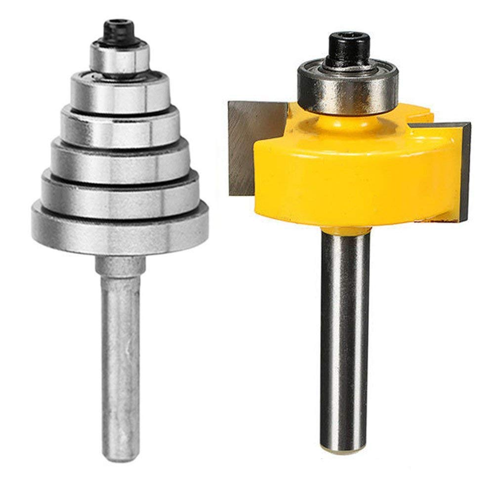"Eyech Rabbet Router Bit Set with 6 Bearings for Multiple Depths(1/8"", 1/4"", 5/16"", 3/8"", 7/16"", 1/2""), 1/4-Inch Shank"