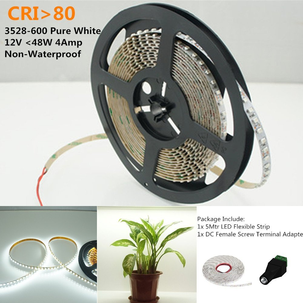 LightingWill LED Strip Light Kit CRI80 SMD3528 16.4Ft(5M) 600LEDs Pure White 5000K-6000K 120LEDs/M DC12V 48W 9.6W/M 8mm White PCB Flexible Ribbon Strip with Adhesive Tape Non-Waterproof M3528PW600N
