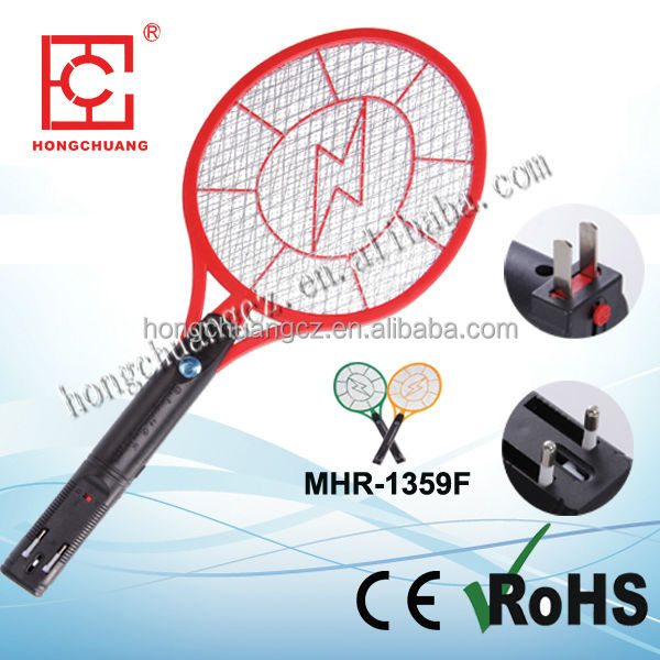MHR-1359F ABS 21cm rechargeable Nickel-cadmium battery electric rechargeable mosquito racket insect killer