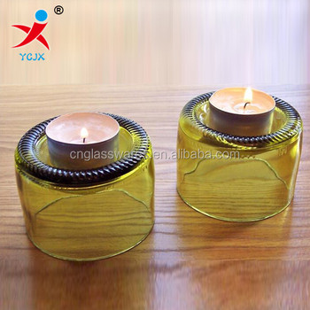 New Design Half Cut Glass Wine Bottle Tea Light Candle Holder Buy