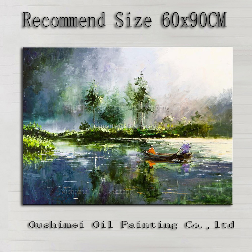 Professional Artist 100%Handmade High Quality Impression Landscape Oil Painting On Canvas Boating In A Lake Monet Oil Painting
