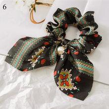 Резинки для волос с большим бантом и жемчугом, женские резинки для волос с принтом, эластичные резинки для волос в виде хвоста, аксессуары дл...(Китай)