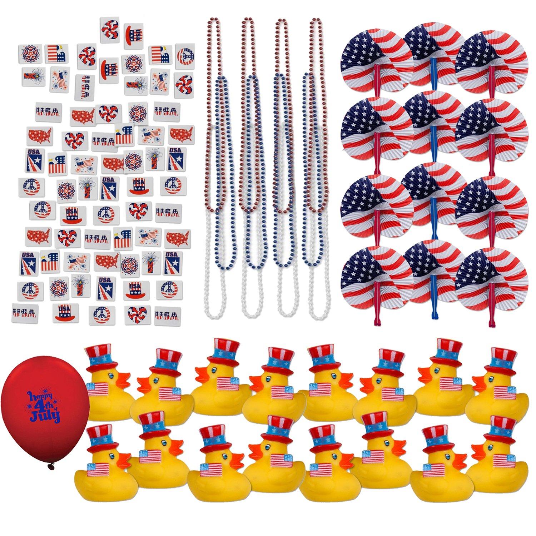 "109 Piece Mega Patriotic Toy Novelty Assortment; 72 Glitter Patriotic Temporary Tattoos; 12 Patriotic Rubber Ducks; 12 Patriotic Paper Fans; 12 33"" Patriotic Necklaces and 9"" Balloon."