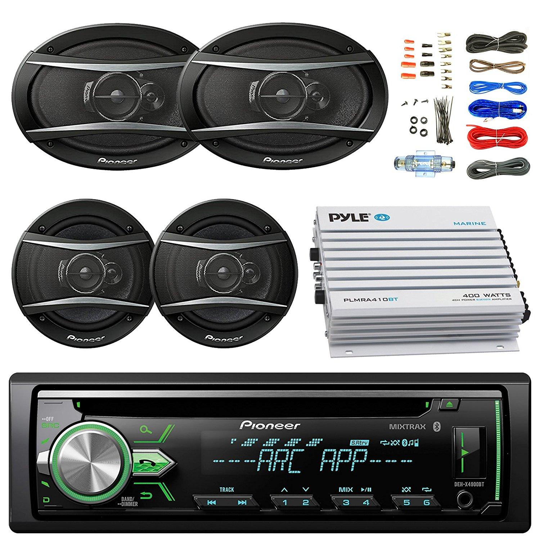 "Pioneer DEH-S4000BT Bluetooth Radio USB AUX CD Player Receiver - Bundle w/ 2x TSA1676R 6.5"" 3-Way Car Audio Speakers - 2x 6.5""-6.75"" 4-Way Stereo Speaker + 4-Channel Amplifier + Amp Kit"