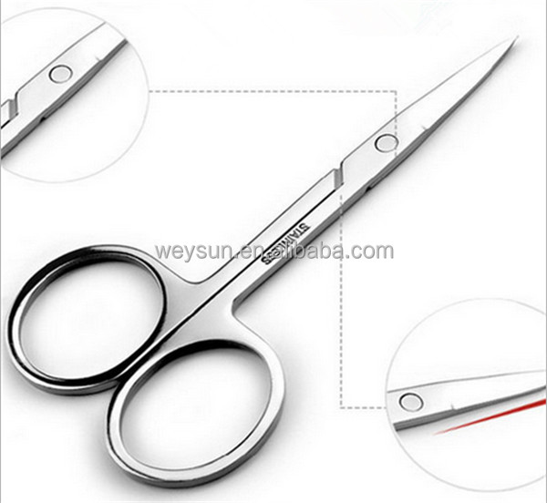 Professional Nail Scissor Manicure For Nails Eyebrow Nose Eyelash Cuticle Scissors Curved Pedicure Makeup Tools