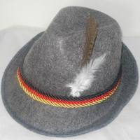 Grey german oktoberfest alpine hat with feathers decoration