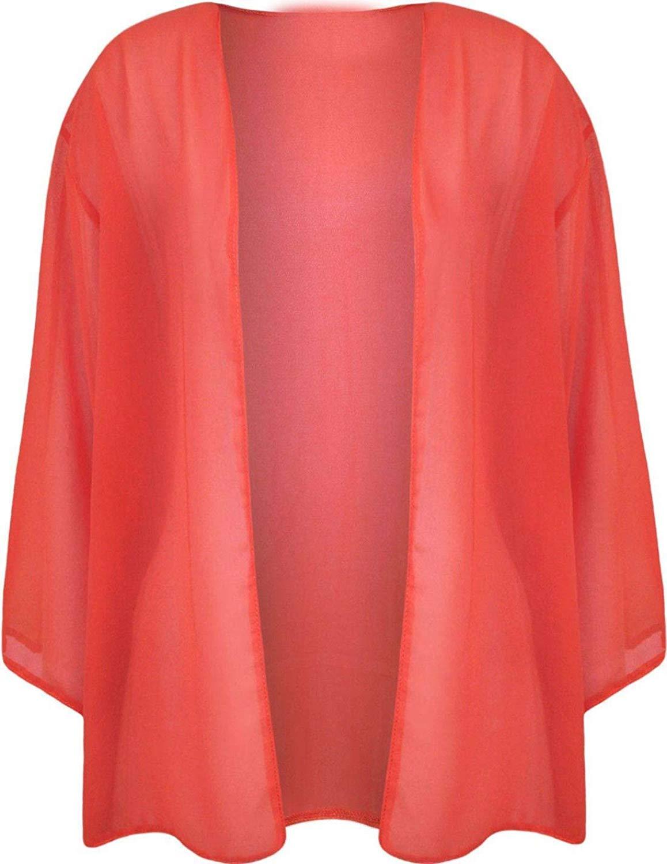 FASHION FAIRIES Womens Plain Front Open Kimono Shrugs Ladies 3/4 Sleeve Cardigan Plus Size