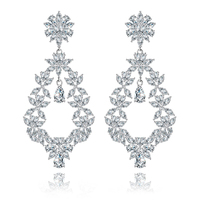 Silver Wedding Victorian Style Pattern Teardrops Dangle Earrings Zircon Crystal Floral Chandelier Drop Earring