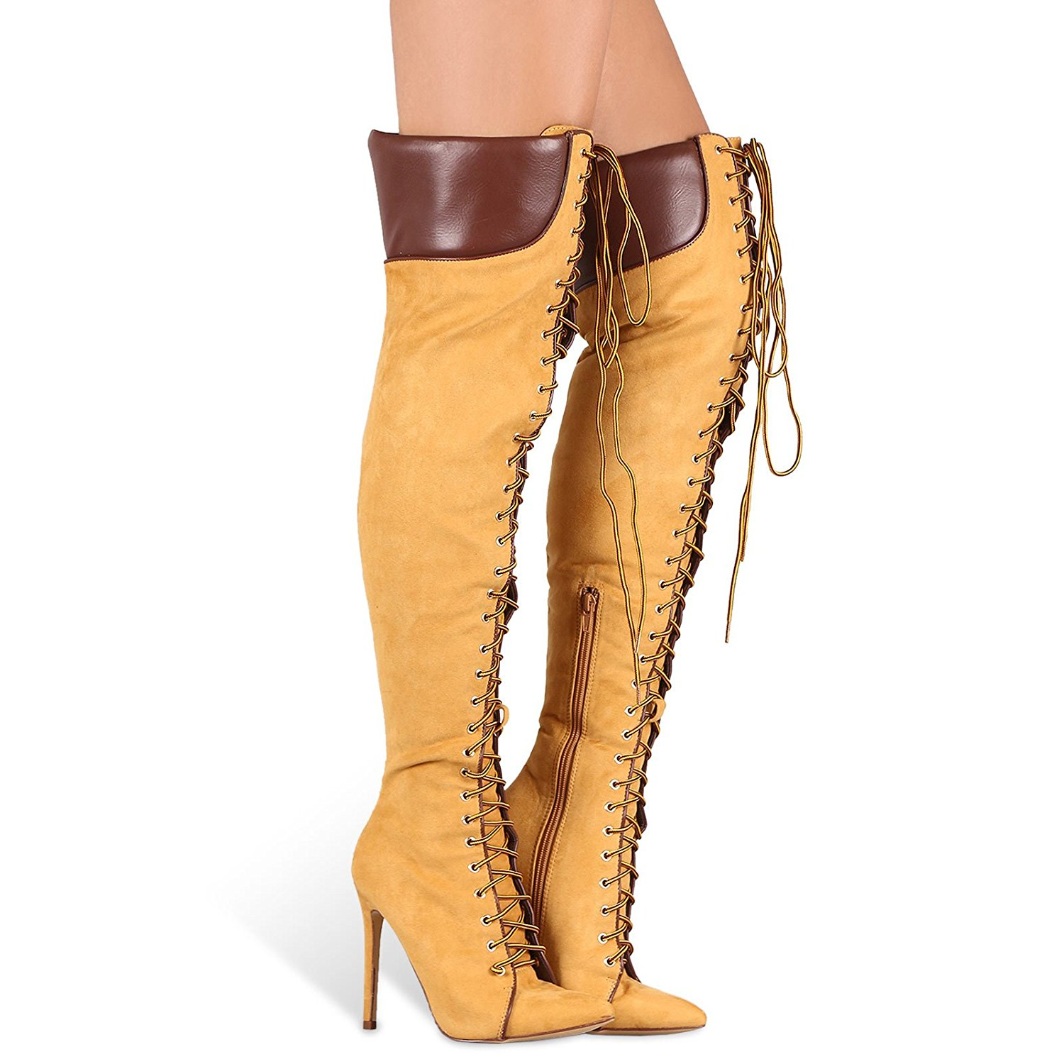 b72ecd5b25 Get Quotations · Liliana Million Thigh High Over Knee Lace Up Pointy Toe High  Heel Boots