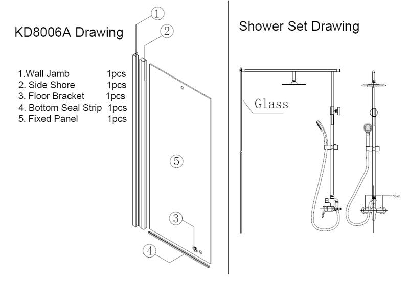 Un lado vidrio cabina de ducha cabina de baño de pie cabina de ducha (KD8006A)