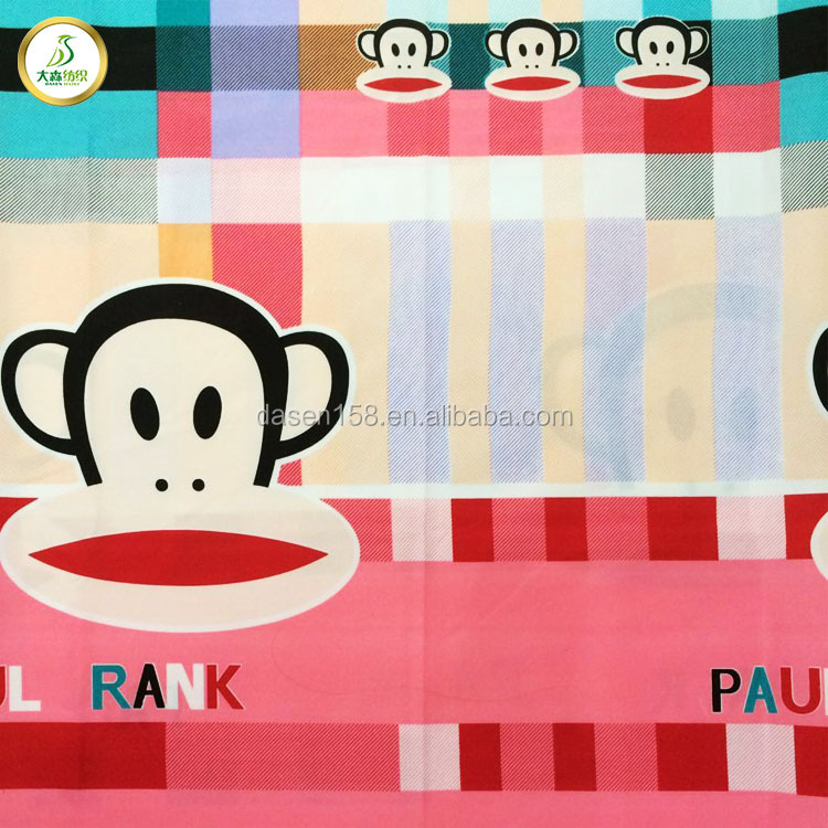 monkey cartoon design 100% polyester printing fabric for bed sheet