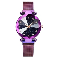 Luxury ladies watch magnet stainless steel mesh with starry fashion diamond female luminous shining quartz watch relogio