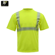 100% polyester reflective heat tape uniform shirt safety short sleeve polo shirt