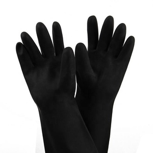 Black Safety Gloves Have Cotton Lined For Industrial Work