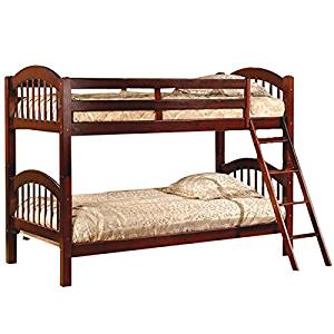 Bunk Beds Twin Over Twin Wooden Arched Sturdy Kids Furniture Wood Ladder (Esprit Cherry)