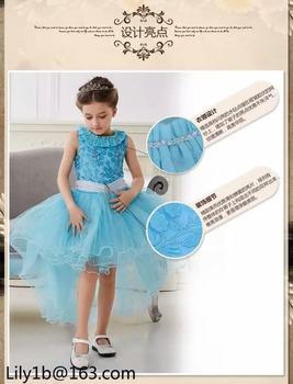 06a07d1588 Blue Girls Kids Baby Flower Petals Party Wedding Gown Formal Fancy Dress  3-4Y