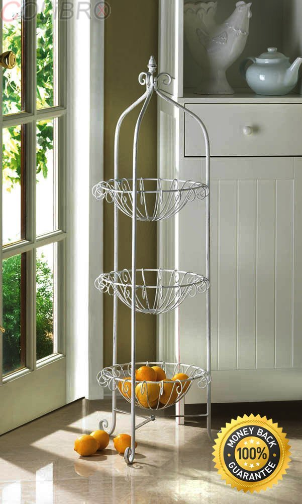 COLIBROX--3 TIER DECORATIVE KITCHEN CORNER BASKET STAND PRODUCE STORAGE-THIS CORNER BASKET STAND IS PROOF THAT ROMANTIC AND CHARMING ROOM ADDITIONS CAN BE FUNCTIONAL!