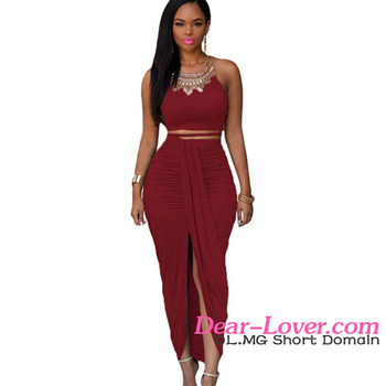 cdf890b5be Date Red Cotton Two Piece Maxi Skirt Set latest dress designs for ladies