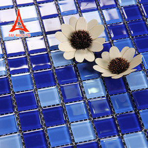 Bathroom glossy glass mosaic wall tiles popular blue colour glass mosaic tile for swimming pool