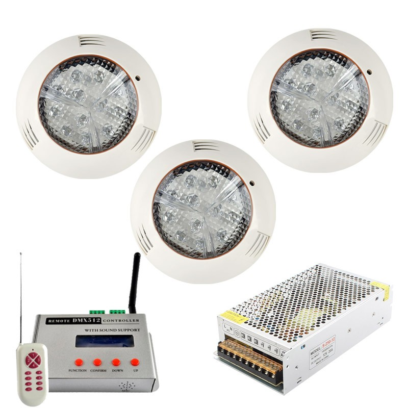 36W Wall mounted DMX512 RGB underwater piscina underwater swimming IP68 LED pool light + DMX Controller + Power adapter 3pcs