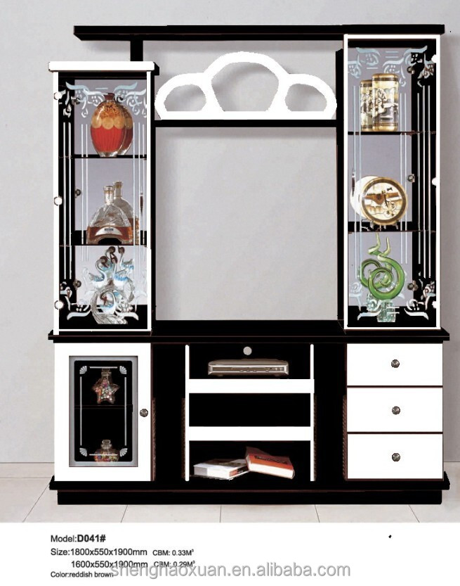 Shunde Furniture Wood Cabinet TV Cabinet With Showcase D041 Modern