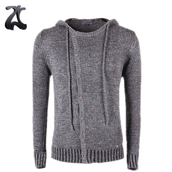 Mens Best Sale Grey Woolen Cardigan Sweaters Cropped Button Knitting Hooded  For Winter , Buy Mens Wool Cardigan Sweater,Mens Gray Cardigan