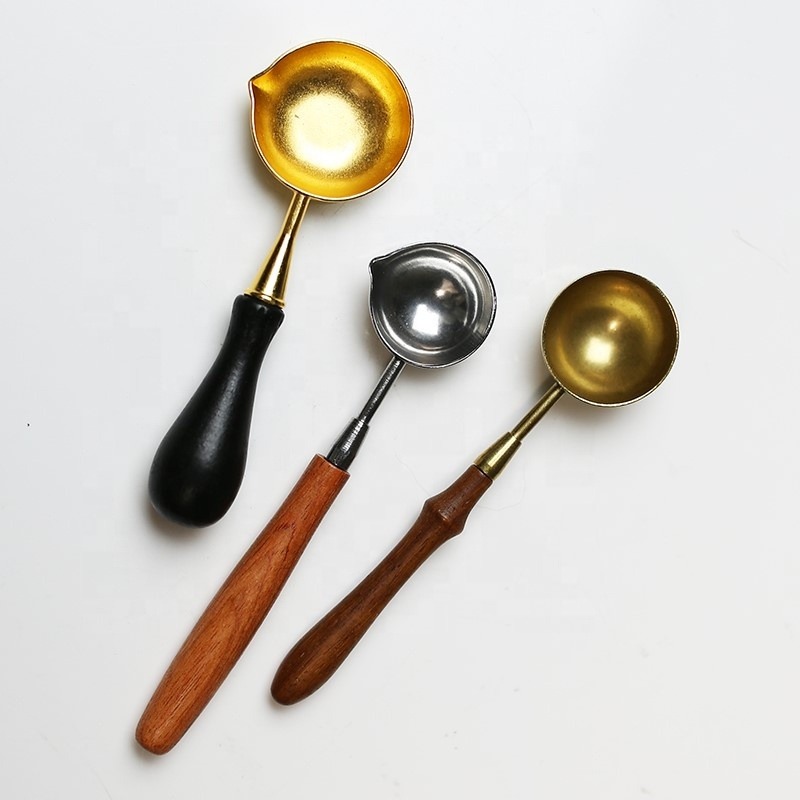 Gold Plated Stainless Steel Spoon Beech Wooden Handle Seal Wax Special Greeting Card Postcard Decoration Sealing Wax Spoon