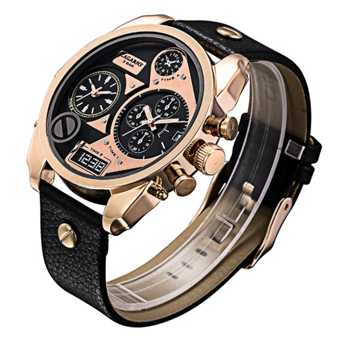 CAGARNY 6822 Fashionable Style Large Dial Dual Clock Quartz Movement Wrist Watch with Leather Band & GMT Time & Calenda Function