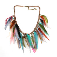 native american best selling products colorful gypsy feather bib necklace