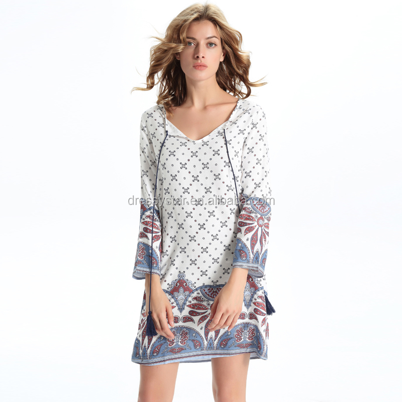 Scoop Neck Keyhole Print Plaid Linen Short Beach Bohemia White Dress